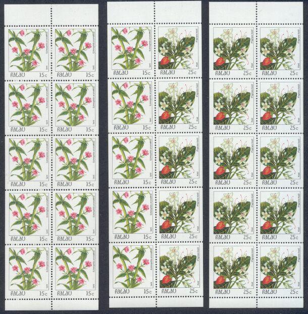 Palau – 3 MNH Unfolded/Unbound Flowers Booklet Panes