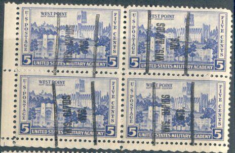 US Stamp # 789 West Point MNH Block w/ Wis. Rapids, Wis. Precancel