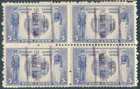 US Stamp # 794 MNH – Annapolis Block w/ Wis. Rapids, Wis. Precancel
