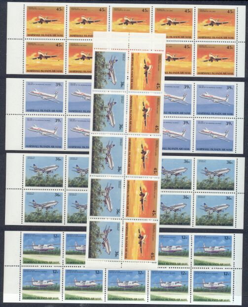 Rep.Marshall Isl.-5 MNH Unfolded/Unbound Air Mail Booklet Panes -…