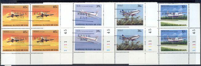Rep.Marshall Isl. – 4 MNH Airplane Plate Blocks of 4