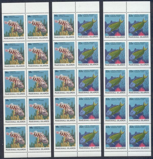 Rep.Marshall Isl.-3 MNH Unfolded/Unbound Fish Booklet Panes
