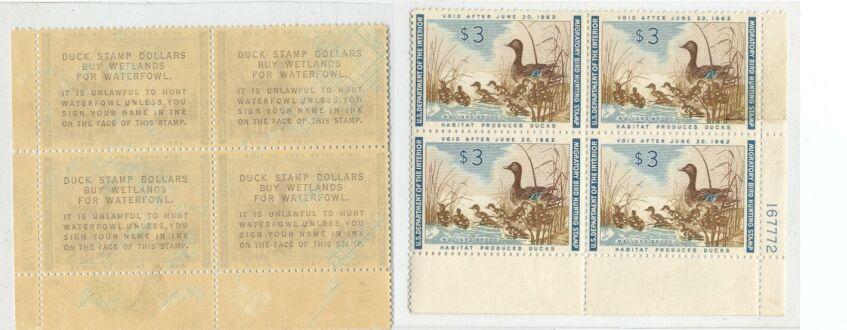 US Scott #RW28 MNH – Mallard Hen and Ducklings Plate Block of 4