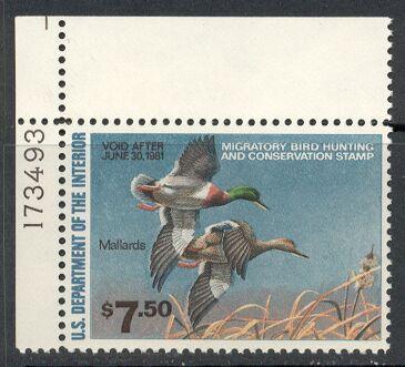 US Scott #RW47 MNH – Magnificent Mallards in Flight Plate Number Single