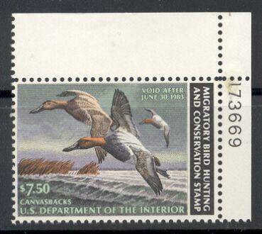 US Scott #RW49 MNH Canvasbacks in Flight Plate Number Single