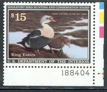 US Scott #RW58 MNH PHANTASTIC Pair of King Eiders Plate Number Single