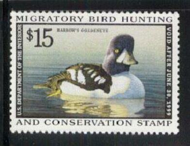 US Scott #RW65 MNH – BEAUTIFUL Barrow's Goldeneye on a Pond