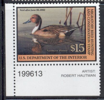 US Scott #RW68 MNH Northern Pintail Duck Plate Number Single