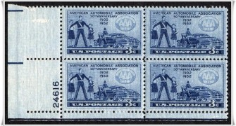 US Stamp #1007 MNH – American Automobile Association – Plate Block of 4