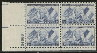 US Stamp #1010 MNH – LaFayette – Plate Block of 4