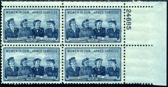 US Stamp #1013 MNH – Service Women – Plate Block of 4