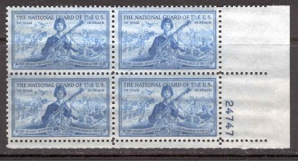 US Stamp #1017 MNH – National Guard – Plate Block of 4