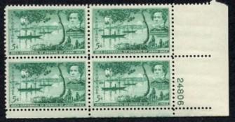 US Stamp #1021 MNH – Opening Japan – Plate Block of 4