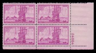 US Stamp #1027 MNH – New York City – Plate Block of 4