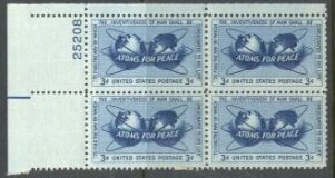 US Stamp #1070 MNH – Atoms for Peace – Plate Block of 4