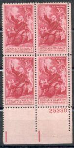 US Stamp #1073 MNH – Ben Franklin – Plate Block of 4