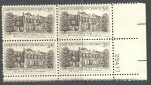 US Stamp #1081 MNH – Wheatland – Plate Block of 4