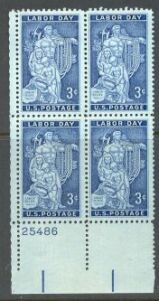 US Stamp #1082 MNH – Labor Day – Plate Block of 4