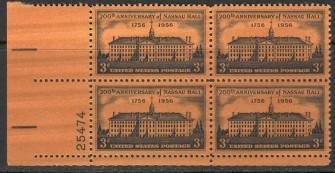 US Stamp #1083 MNH – Nassau Hall – Plate Block of 4