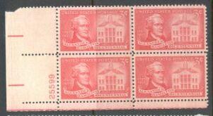 US Stamp #1086 MNH – Alexander Hamilton – Plate Block of 4
