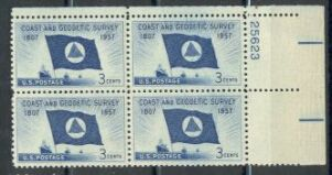US Stamp #1088 MNH – Coast and Geodetic Survey – Plate Block of 4