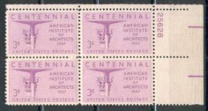 US Stamp #1089 MNH – American Institute of Architects – Plate Block of 4