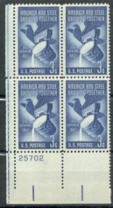 US Stamp #1090 MNH – Steel Industry – Plate Block of 4
