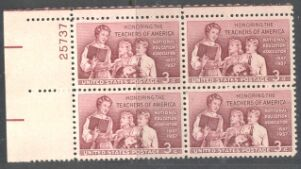 US Stamp #1093 MNH – Teachers of America – Plate Block of 4