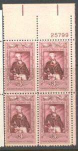 US Stamp #1097 MNH – LaFayette – Plate Block of 4
