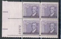 US Stamp #1105 MNH – James Monroe – Plate Block of 4