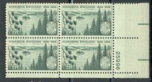 US Stamp #1106 MNH – Minnesota Statehood – Plate Block of 4