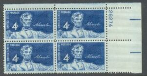 US Stamp #1116 MNH – Abraham Lincoln – Plate Block of 4