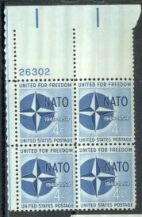 US Stamp #1127 MNH – N A T O – Plate Block of 4