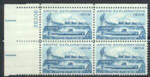 US Stamp #1128 MNH – Arctic Exploration – Plate Block of 4