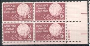 US Stamp #1129 MNH – Peace Through Trade – Plate Block of 4