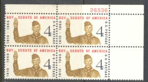 US Stamp #1145 MNH – Boy Scouts – Plate Block of 4