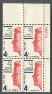 US Stamp #1163 MNH – Boys Clubs – Plate Block of 4
