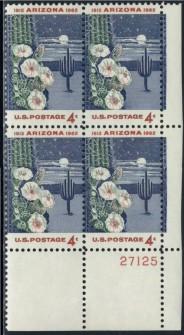 US Stamp #1192 MNH – Arizona Statehood – Plate Block of 4
