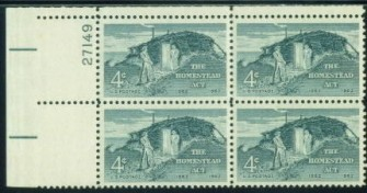 US Stamp #1198 MNH – Homestead Act – Plate Block of 4