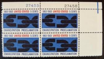 US Stamp #1233 MNH – Emancipation Proclamation – Plate Block of 4