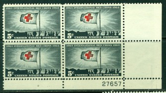 US Stamp #1239 MNH – Red Cross – Plate Block of 4
