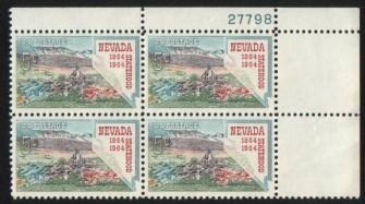 US Stamp #1248 MNH – Nevada Statehood – Plate Block of 4