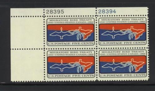 US Stamp #1306 MNH – Migratory Birds – Plate Block of 4