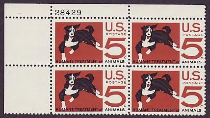 US Stamp #1307 MNH – Humane Treatment – Plate Block of 4