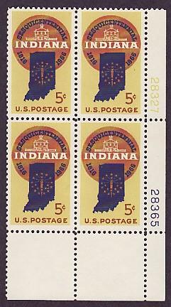 US Stamp #1308 MNH – Indiana Statehood – Plate Block of 4