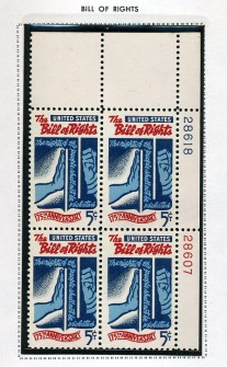 US Stamp #1312 MNH – Bill of Rights – Plate Block of 4