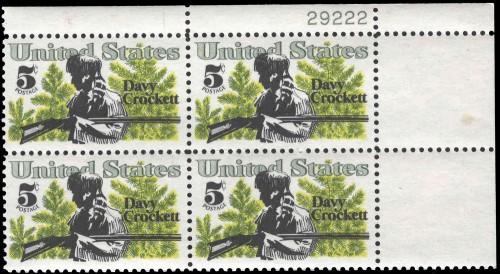 US Stamp #1330 MNH – Davy Crockett – Plate Block of 4