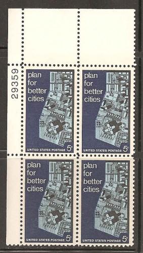 US Stamp #1333 MNH – Urban Renewal – Plate Block of 4