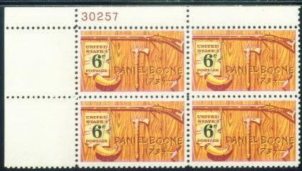 US Stamp #1357 MNH – Daniel Boone – Plate Block of 4