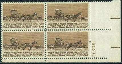 US Stamp #1360 MNH – Cherokee Strip – Plate Block of 4